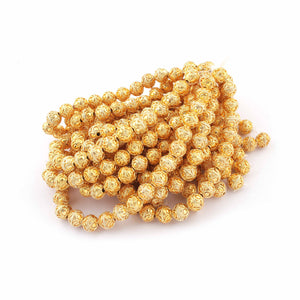 1 Strand 24k Gold Plated Designer Copper Casting Round Ball Beads - 9 mm Ball Beads - Jewelry - 8 Inches GPC319 - Tucson Beads