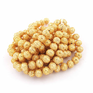 1 Strand 24k Gold Plated Designer Copper Casting Round Ball Beads - 13 mm Ball Beads - Jewelry Making - 7 Inches GPC323 - Tucson Beads