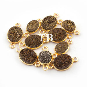 10 Pcs Mystic Brown Druzy Druzzy Drusy Bezel Oval 925 Sterling Vermeil Double Bail Connector 15mm-17mm SS214 - Tucson Beads