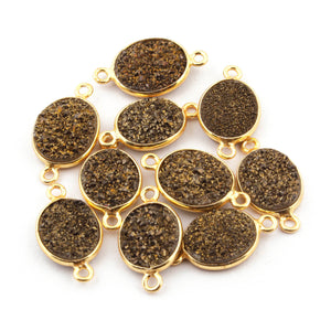 10 Pcs Mystic Brown Druzy Druzzy Drusy Bezel Oval 925 Sterling Vermeil Double Bail Connector 15mm-17mm SS215 - Tucson Beads