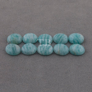 10 Pcs Amazonite Calibrated Smooth Cabochon Oval Flat Back Cap- Loose Gemstone Cabochon 10mmx8mm LGS350 - Tucson Beads