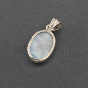 1 Pc Genuine and Rare Larimar Oval Shape Pendant - 925 Sterling Silver - Gemstone Pendant 31mmx17mm-12mmx6mm SJ024 - Tucson Beads