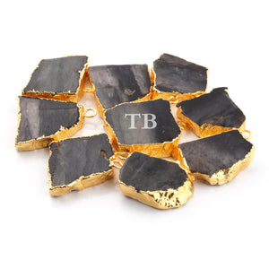 9 Pcs Black Rutile Druzy Druzzy Drusy Slice Electroplated 24K Gold Plated Pendant - 24mmx14mm-23mx21mm Drz152 - Tucson Beads