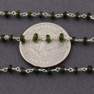 1 Feet Chrome Diopside Rosary Style Beaded Chain 3-3.5MM, Chrome Diopside Beads Wire Wrapped 925 Sterling Silver Chain SRC007 - Tucson Beads