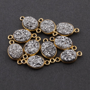 10 Pcs Mystic Silver Druzy Druzzy Drusy Oval 925 Sterling Vermeil Double Bail Connector 14mmx8mm-17mmx9mm SS119 - Tucson Beads