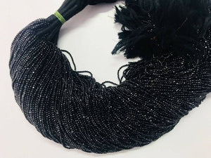 AAA Natural 5 Strands Black Spinel Faceted Beads Tiny Small Rondelles Black Spinel Rondelles  2mm 13inch Long strand  RB089 - Tucson Beads
