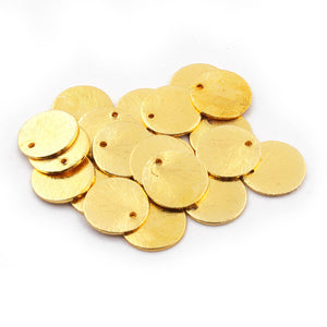 50 Pcs Gold Round Charm 24k Gold Plated On copper - Gold mat finish charm 12mm GPC596 - Tucson Beads