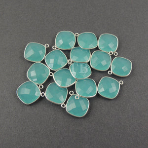 4 Pcs Blue Aqua Chalcedony 925 Sterling Silver Faceted Cushion Single Bail Pendant - 20mmx16mm-19mmX16mm SS127 - Tucson Beads