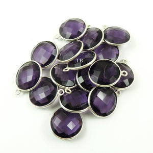 4 Pcs Amethyst 925 Sterling Silver Faceted Round Single Bail Pendant - 18mmx15mm SS315 - Tucson Beads