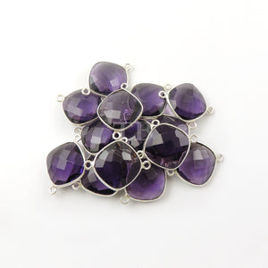 5 Pcs Amethyst Faceted Cushion Shape 925 Sterling Silver Double Bail Connector - SS023 - Tucson Beads