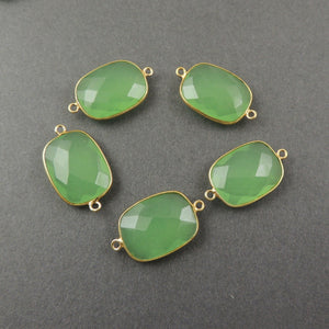 Listing is For (4) Pcs Green Chalcedony 925 Sterling Vermeil Faceted Rectangle Double Bail connector- SS380 - Tucson Beads
