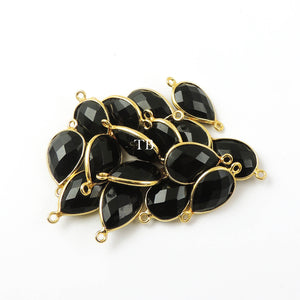 4 Pcs Black Onyx 925 Sterling Vermeil Faceted Pear Double Bail Conector - SS435 - Tucson Beads