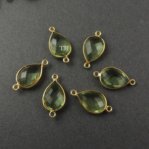 Listing is For Four (8) Pcs Green Amethyst 925 Sterling Vermeil Faceted Pear Double Bail Connector - SS430 - Tucson Beads