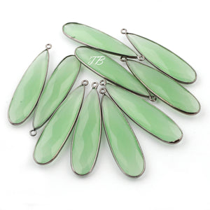 5 Pcs Green Chalcedony Gold Plated & Black Polish Faceted Long Pear Drop Single Bail Pendant PC285 - Tucson Beads
