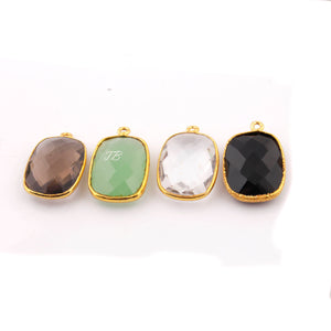 5 Pcs Black Onyx , Smoky Quartz, Green Chalcedony , Crystal Quartz Gold Plated Faceted Rectangle Shape Single Bail Pendant PC286 - Tucson Beads