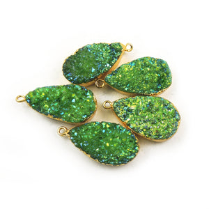 1 PC Mystic Green Druzy Drusy Druzzy Slice Electroplated 24K Gold Plated Single Bail Pendant/Connector DRZ026 - Tucson Beads