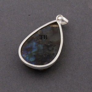 1 Pc Genuine and Rare Labradorite Pear Shape Pendant , 925 Sterling Silver - Gemstone Pendant 46mmx27mm SJ221 - Tucson Beads