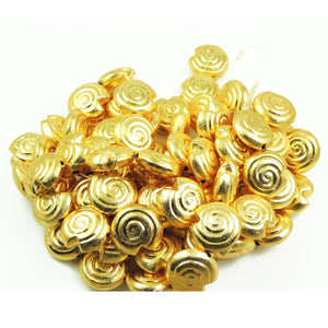 2  Strands 24k Gold Plated Over Copper Snail Mat Finish Beads- Snail Mat Beads 25mm 8 inch Strand GPC677 - Tucson Beads