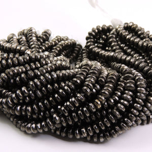 4 Strands AAA Quality Wheel Bead Black Copper Beads - Japanese Cap 6mm 7.5 inch Strand GPC679 - Tucson Beads