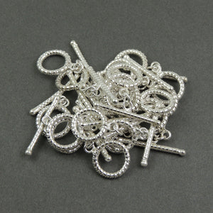 5 Pcs Fine Quality 925 Silver Plated Toggle Beads  - Metal Beads -  Toggle Clasp 34mmx3mm-24mmx18mm  GPC684 - Tucson Beads