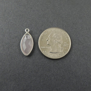 4 Pcs Rose Quartz Faceted 925 Sterling Silver Marquise Single Bail Pendant - 20mmx9mm SS337 - Tucson Beads