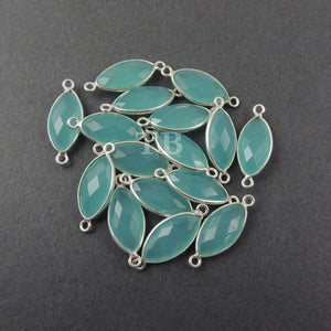 4 Pcs Blue Aqua Chalcedony Faceted 925 Sterling Silver Marquise Double Bail Connector - 23mmx9mm SS349 - Tucson Beads