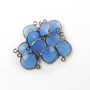 5 Pcs Blue Chalcedony Faceted Cushion Shape Oxidized Silver Double Bail Connector - 16mmx12mm  SS089 - Tucson Beads