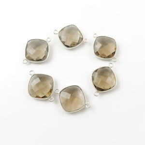 4 Pcs Smoky Quartz 925 Sterling Silver Cushion Shape Double Bail Connector 23mmx17mm SS392 - Tucson Beads