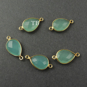 4 Pcs Blue Aqua Chalcedony 925 Sterling Vermeil Faceted Pear Double Bail Connector - SS417 - Tucson Beads