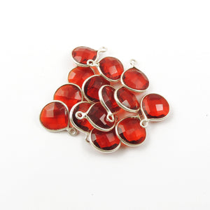9 Pcs Red Hydro Heart Faceted 925 Sterling Silver Single Bail Pendant 12mmx10mm-15mmX11mm SS453 - Tucson Beads