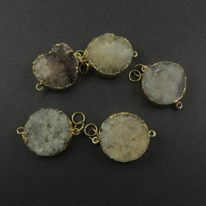 White/ Gray Agate Druzy Drusy Druzzy Slice Electroplated 24k Gold/925 Silver Plated Double Bail Connector Drz024 - Tucson Beads