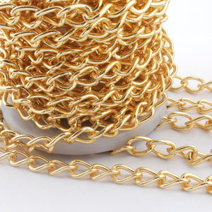 2 Feet Gold Plated Copper Chain - Cable Oval Link Chain - Copper Gold Curb Chain -Soldered Chain 14mmx8mm GPC719 - Tucson Beads