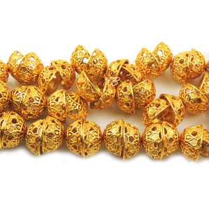 1 Strand 24k Gold Plated Designer Copper Casting Half Cap Beads - Jewelry- 20mmx11mm 8 Inches GPC104 - Tucson Beads