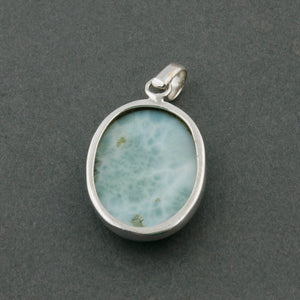1 Pc Genuine and Rare Larimar Oval Pendant - 925 Sterling Silver - Gemstone Pendant 33mmx21mm-10mmx7mm SJ193 - Tucson Beads