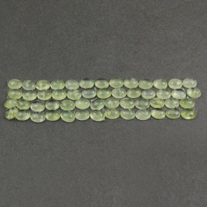 10 Pcs Prehnite Calibrated Smooth Cabochon Oval Flat Back Cab- Loose Gemstone Cabochon 8mmx6mm LGS313 - Tucson Beads