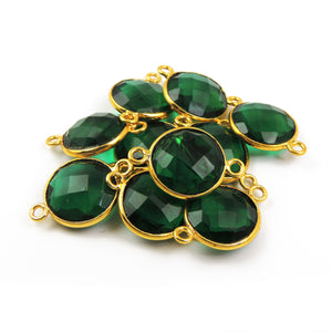 10 Pcs Green Onyx 24 Gold Plated Double Bail Connector - Green Onyx Faceted Round Connector 19mmx13mm PC214 - Tucson Beads