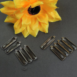 5 Pcs Smoky Quartz 925 Sterling Silver/ Vermeil Faceted Rectangle Shape Single Bail Pendant SS028 - Tucson Beads