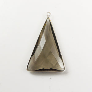 4 Pcs Smoky Quartz 925 Sterling Silver Faceted Trillion Shape Single Bail Pendant  SS013 - Tucson Beads