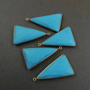 5 Pcs Turquoise 925 Sterling Silver/ Vermeil Faceted Triangle Shape Single Bail Pendant - 39mmx22mm SS495 (You Choose) - Tucson Beads