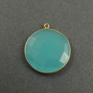 5 Pcs Blue Aqua Chalcedony 925 Sterling Silver/Vermeil Faceted Round Single Bail Pendant - 28mmx25mm SS100 - Tucson Beads
