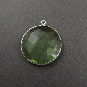 5 Pcs Green amethyst 925 Sterling Silver/Vermeil Faceted Round Single Bail Pendant -  28mmx25mm SS469 - Tucson Beads