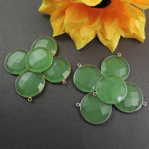 5 Pcs Green Chalcedony 925 Sterling Silver/Vermeil Faceted Round Shape Pendant- 28mmx25mm SS083 - Tucson Beads