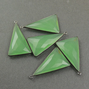 5 Pcs Green Chalcedony Faceted Oxidized Silver/sterling vermeil/sterling silver Triangle Shape Single Bail Pendant - 38mmx22mm SS520 - Tucson Beads