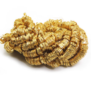 1 Strand 24k Gold Plated Designer Copper Casting Round Charm - 10mmx2mm - Jewelry - 7.5 Inches GPC328 - Tucson Beads