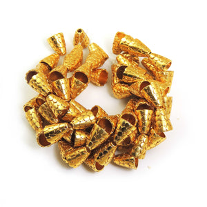 1 Strand 24k Gold Plated Designer Copper Casting Cone Beads - Jewelry - 13mmx10mm 7.5 Inches Gpc337 - Tucson Beads