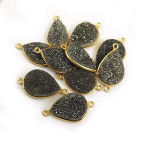 10 Pcs Mystic Black Druzy Druzzy Drusy Pear Shape 24K Gold Plated Double Bail Connector PC312 - Tucson Beads
