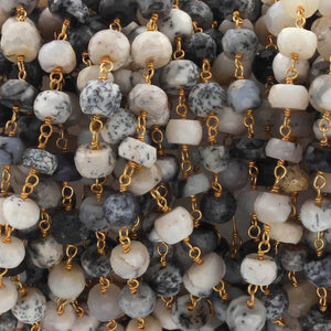 1 Feet Dendrite Opal 6mm Rosary Style Rondelle Chain - Opal Beads 925 Sterling Vermeil Chain SRC036 - Tucson Beads