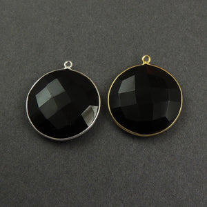 5 Pcs Black Onyx Hydro Faceted Round 925 Sterling Silver/Vermeil Pendant - Black Onyx Pendant 28mmx25mm SS001 - Tucson Beads