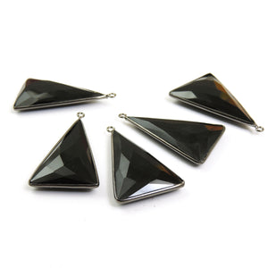 5 Pcs Black Onyx Faceted Oxidized Silver Triangle Shape Single Bail Pendant -  38mmx22mm SS517 - Tucson Beads