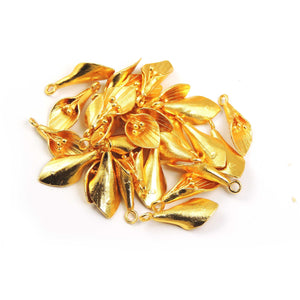 7 Pcs Gold Fancy Charm Pendant - 24k Matte Gold Plated Leaf  - Brass Gold Fancy Pendant 28mmx11mm GPC154 - Tucson Beads